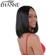 HANNE Lace Front Human Hair Parykker For Black Women Natural Black Pre Plucked 130% Tetthet Straight Brazilian Full Lace Human Hair