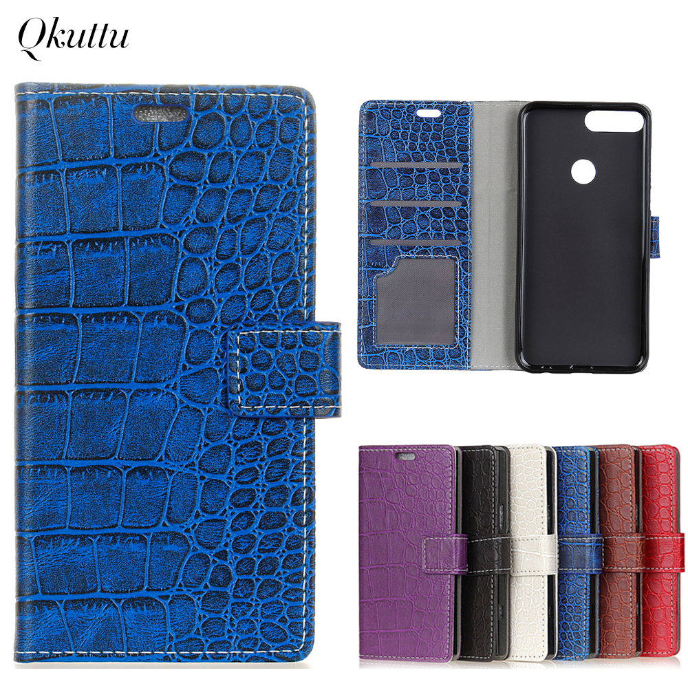 Uftemr Vintage Crocodile PU Leather Cover for Huawei Honor 7C /Enjoy8 Protective Silicone Case Wallet Card Slot Phone Acessories