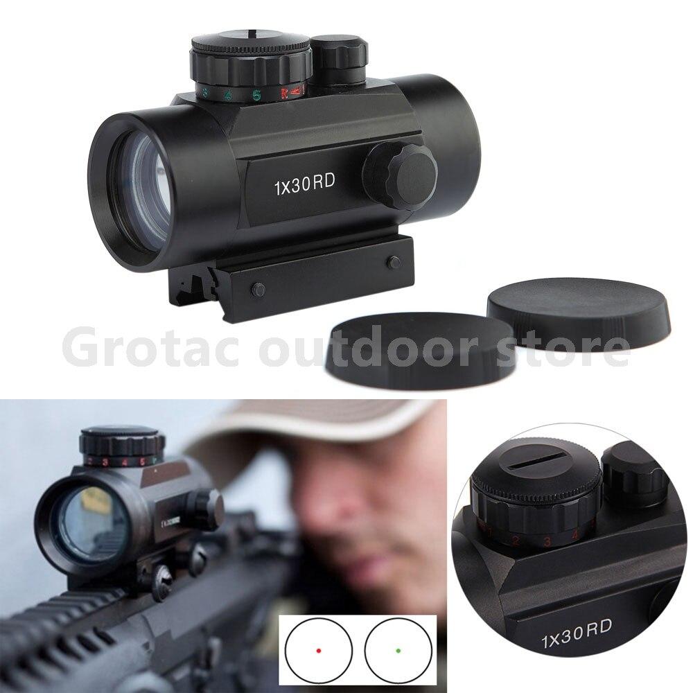 1X30 Holographic Dot Sight Airsoft Tactical Red Green Dot Sight Scope optics Caça 11mm 20 milímetros Ferroviário montagem Colimador Vista