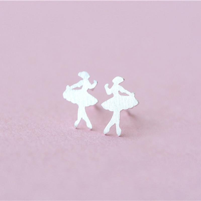 Ballet Ballerina Silver Color plate Stud Earrings Gift Dancing Dancer for Women Girls Dating Special Cute