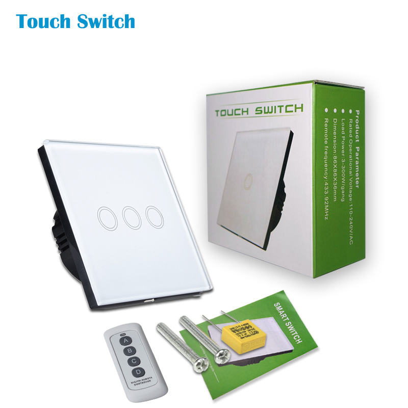 Free Shipping,white/Black/Golden Crystal Glass Panel,EU Standard Wireless Switch 3 Gang 1 Way, With Remote Function,170-240V smart home eu touch switch wireless remote control wall touch switch 3 gang 1 way white crystal glass panel waterproof power