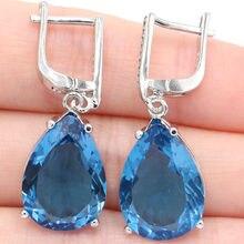 b397968c9 Deluxe forma de la gota de Topacio Azul de Londres blanco CZ de plata para  mujer pendientes 35x13mm