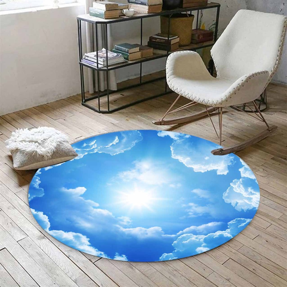 Else Blue Sky Clouds Sun Shines Nature 3d Print Anti Slip Back Round Carpets Area Rug For Living Rooms Bathroom