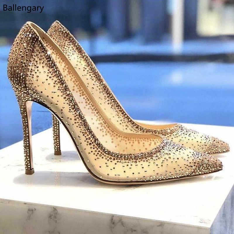 New Summer Stiletto High Heels Pumps Rhinestone Bling Wedding Shoes 2018  Chic Nude Sequin Mesh Pointed 524b5efcf050