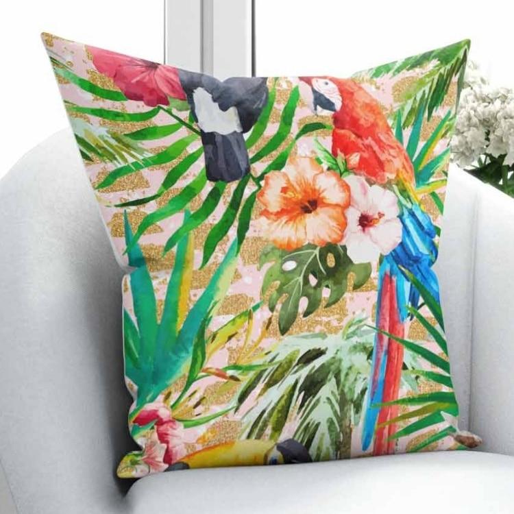 Else Tropical Green Leaf Red Blue Parrots Orange FLowers 3D Print Throw Pillow Case Cushion Cover Square Hidden Zipper 45x45cm|Pillow Case| |  - title=