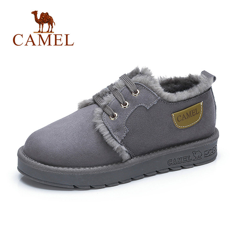 CAMEL Ankle Snow Boots Women Suede Winter Platform Winter Warm Women Boots Shoes Short Plush Mujer Lace-Up Cross Tied Soft Shoes suede