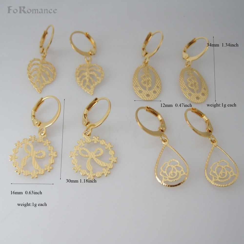 "ORDER 10$ GET FREE SHIPPING/FOUR STYLES CARVED DANGLER - YELLOW GOLD GP TALL 1.2"" EARRING/ LEAF DOUBLE HEART BUTTERFLY KNOT"