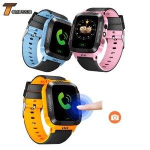 Image 1 - Tomu crianças relógio inteligente telefone y21s remoto da câmera tela de toque chamada sos anti lost lbs localização rastreador para crianças relógio de pulso seguro
