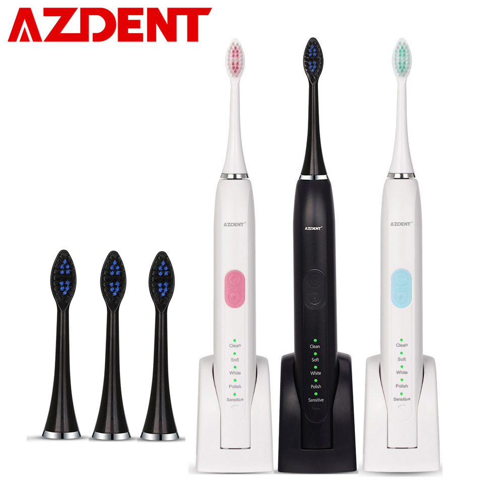 5 Modes Professional Ultrasonic Sonic Electric Toothbrush Rechargeable + 4 Replacement Heads Adults Timer Tooth Brush Waterproof portable electric sonic toothbrush for adults waterproof rechargeable tooth timer teeth brush with 4pcs replacement heads 44