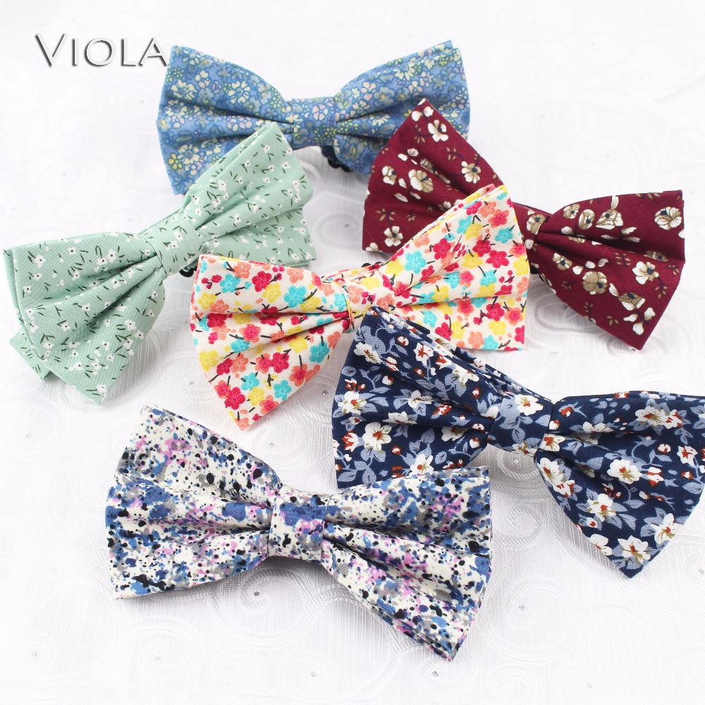 100% Cotton Soft Print Bowtie Thick Fabric Butterfly Floral Men Bow Tie Stylish Gift Party Dinner Accessories High Quality Apparel Accessories