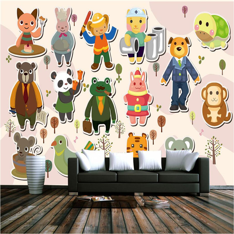 Cartoon Photo Wallpapers for Kids Room Murals Wall Papers Home Decor Living Room Animals Childern Wallpapers 3D Walls Stickers custom large 3d wallpapers cartoon dog cat animals murals kids walls papers for children room living room home decor painting