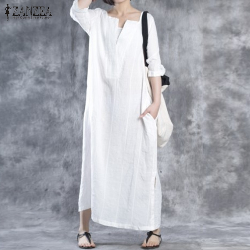 Vestidos 2018 Autumn ZANZEA Women Casual Loose Cotton Solid Dress Vintage Ladies Half Sleeves V Neck Maxi Long Dresses Oversized