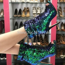 Women Green Gold Sequins Boots Peep Toe Stiletto Slouchy Bootie High Heels Ladies Womens Ankle Shoes