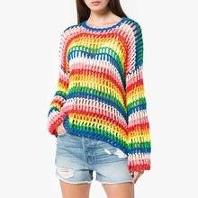 New chic dulce fresco Arco Iris colores ahueca hacia fuera el suéter para  las mujeres 7fb2a094533b