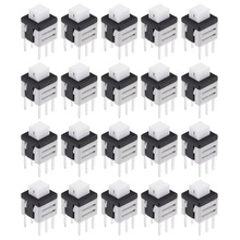 цена на UXCELL 20Pcs 5.8x5.8x7mm Switches PCB DIP Mounting Tact Tactile Push Button Switch Self Lock 6Pin Low Contact Resistance Switch