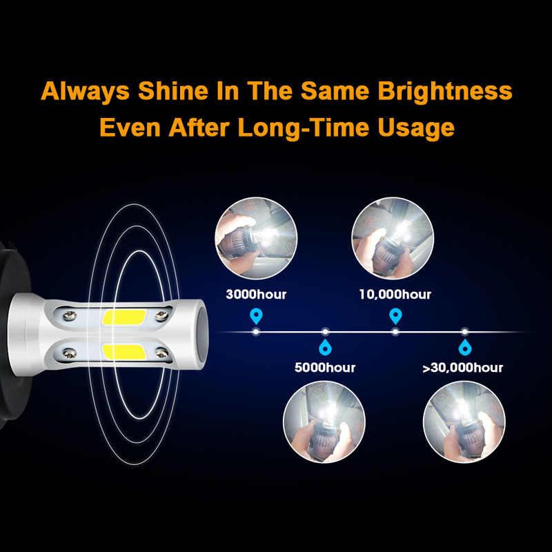 רכב פנס H7 LED H4 H1 H3 H11 H13 HB1 HB2 HB3 HB4 HB5 9003 9004 9005 9006 9007 72 w 8000LM 12 v אוטומטי פנס 6500 k אור הנורה