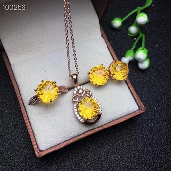 KJJEAXCMY Boutique jewelry 925 Silver-inlaid Natural Topaz Jewelry Earrings, Rings, Pendant Necklace Set Support Detection