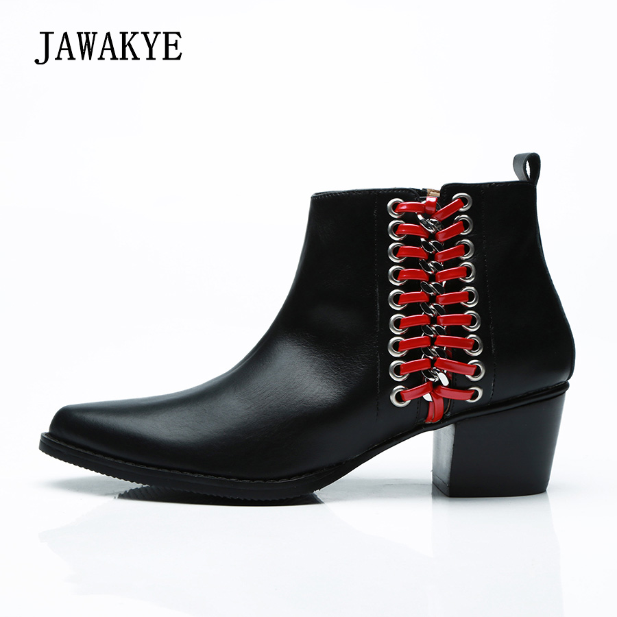 JAWAKYE Winter Shoes Woman Genuine Leather Short Combat boots Chunky middle heel Autumn Women Martin boots Ankle boots for women цена 2017
