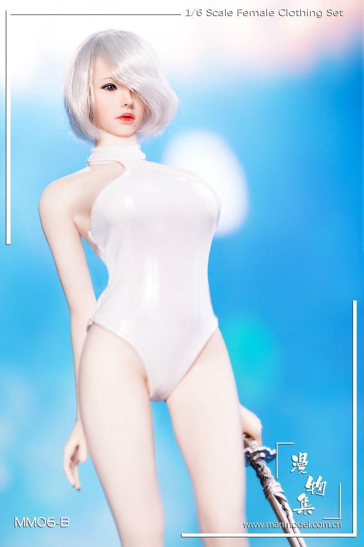 1//6 Scale White YoRHa 2B Swimwear One-piece Swimsuit Bikini Set with High Heels