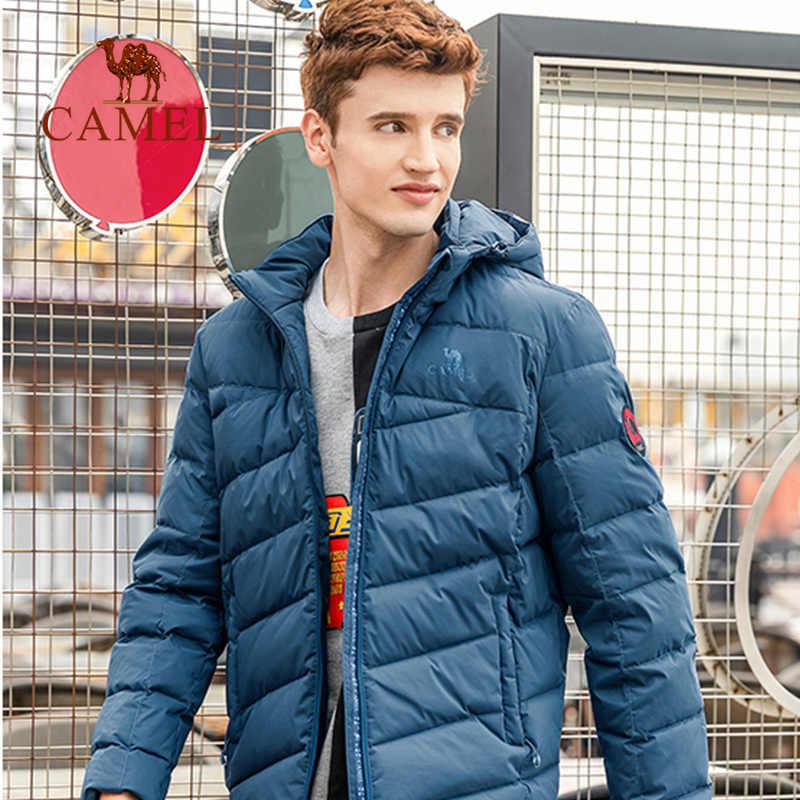 CAMEL chaqueta de plumas para exterior de invierno para hombre con Capucha ligera cálida suave y cálida chaqueta antiarrugas con plumón de pato blanco 90%