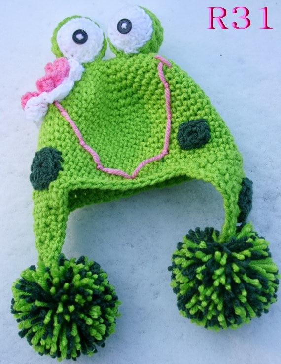 Cartoon Baby Hüte Handmade Infant Caps Neugeborene Fotografie Requisiten Häkeln Strickmütze Unisex Mädchen Jungen Frosch Hüte top-qualität!