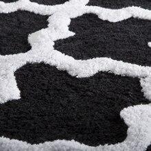 Lavish Home 100% Cotton 2 Piece Trellis Bathroom Mat Set – Black