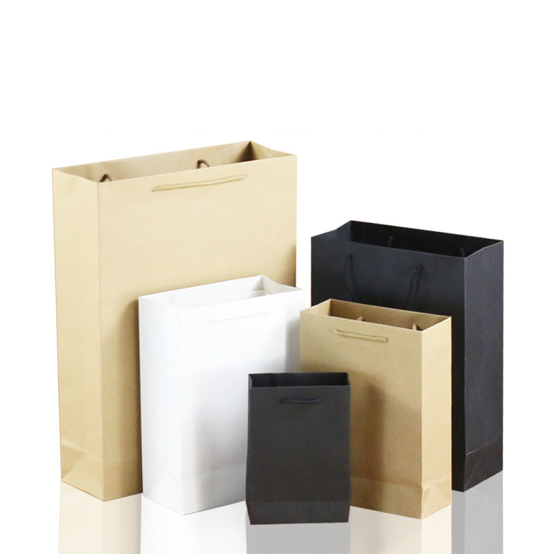 Us 8 0 10pcs Lot White Brown Kraft Paper Bag Gift With Handles Recyclable Packaging Environment Friendly Material In
