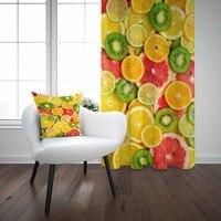 Else plasterek żółto zielony pomarańczowy cytryny Kiwi 3d drukuj salon kuchnia panel okienny zestaw kurtyna połącz prezent poszewka na poduszkę w Zasłony od Dom i ogród na