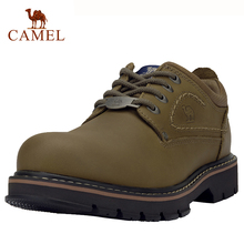 CAMEL Genuine Leather Men Shoes Casual Wear-resistant Leather Anti-skid Sewing Line Tooling Shoes Fashion Outdoor Footwear
