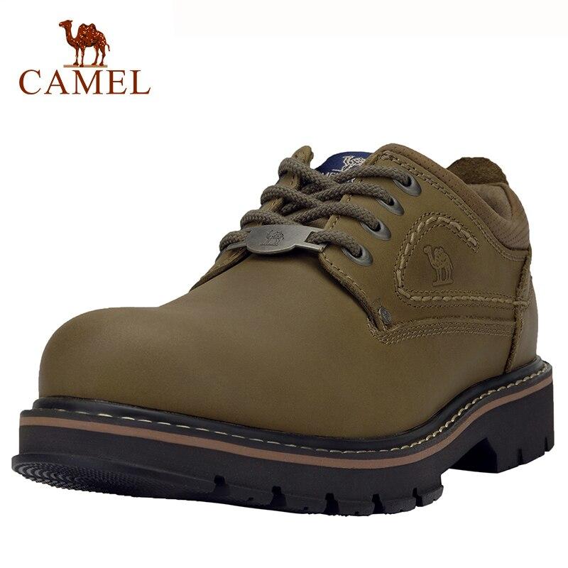 CHAMEAU En Cuir Véritable Hommes Chaussures de Sport résistant à l'usure En Cuir Anti-dérapage À Coudre Ligne Outillage Chaussures Mode En Plein Air Chaussures