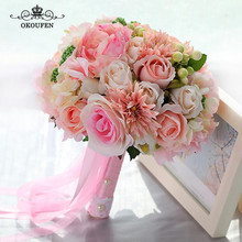 OKOUFEN Artificial Rose Peony Wedding Bouquets Pearls Ribbon Handle 2018 Hand Made Party Bridal Flowers For Bride Accessories