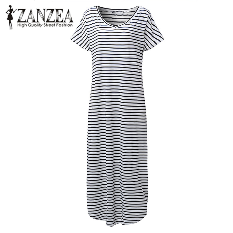 ZANZEA Women 2018 Summer Striped V Neck Casual Loose Long Maxi Dress Sexy Batwing Short Sleeve Kaftan Vestido Plus Size S-5XL