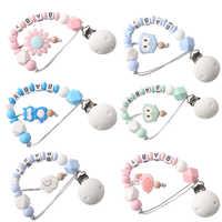 Lassen sie machen 1pc Personalisierte Name Dummy Clip Lebensmittel Grad Silikon Chew Perlen Runde Zahnen DIY Baby Zahnen Schnuller clips Ketten