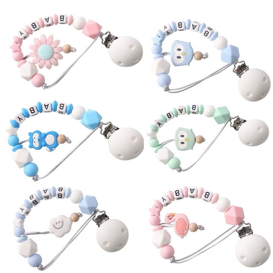 Vamos a hacer 1 pc nombre personalizado Dummy Clip alimentos de silicona masticar granos de dentición DIY bebé dentición chupete clips de cadenas
