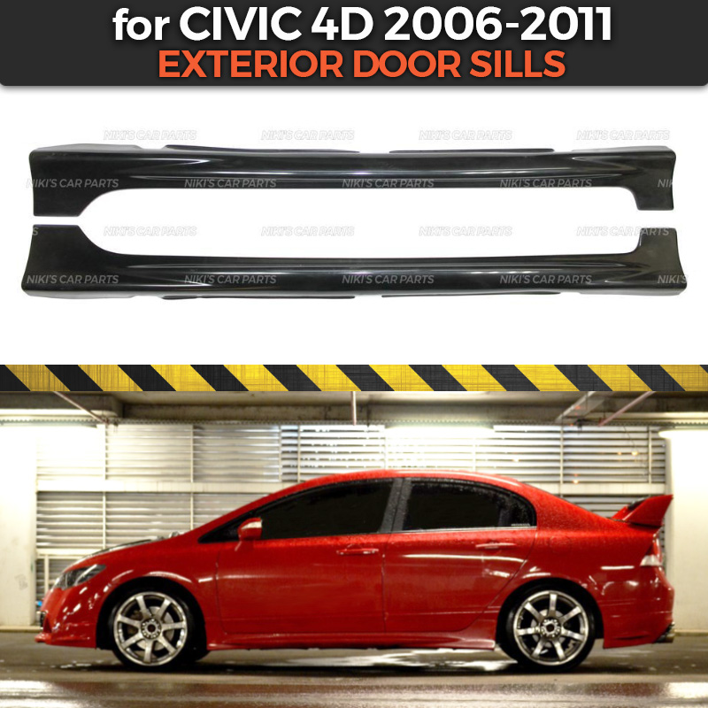 Exterior door sills case for Honda Civic 4D 2006 2011 side skirts ABS plastic body kit