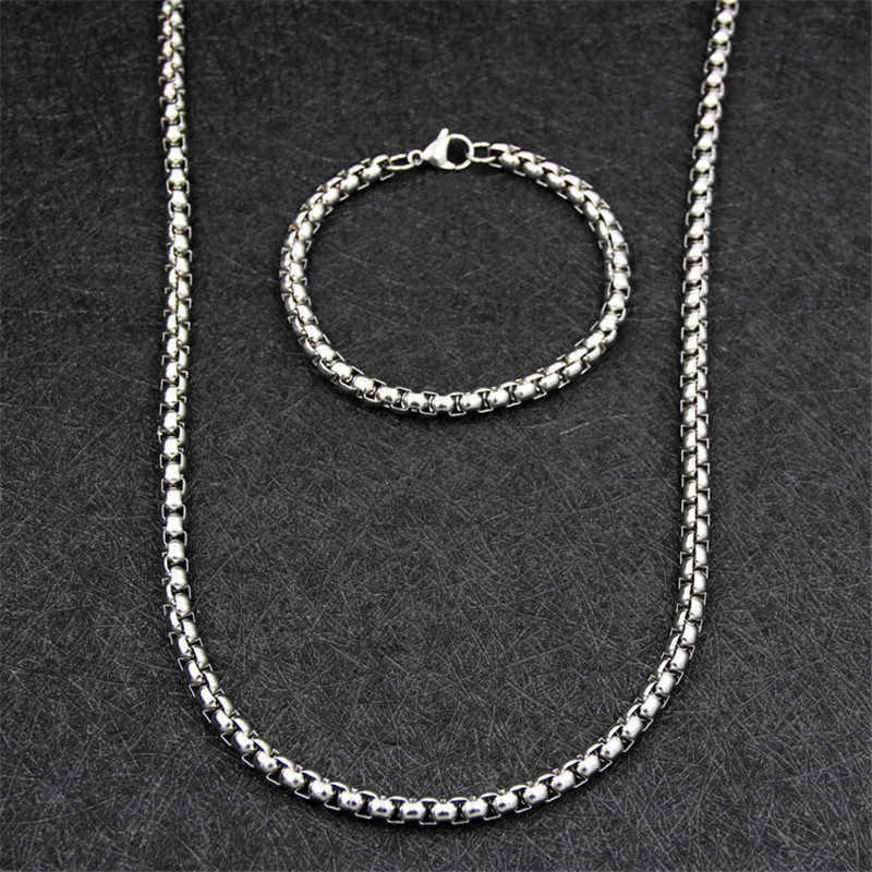Fashion Men's Jewelry Set 316L Stainless Steel 6MM Chain Necklace Bracelet Titanium Steel Punk Rock Style Christmas Gift