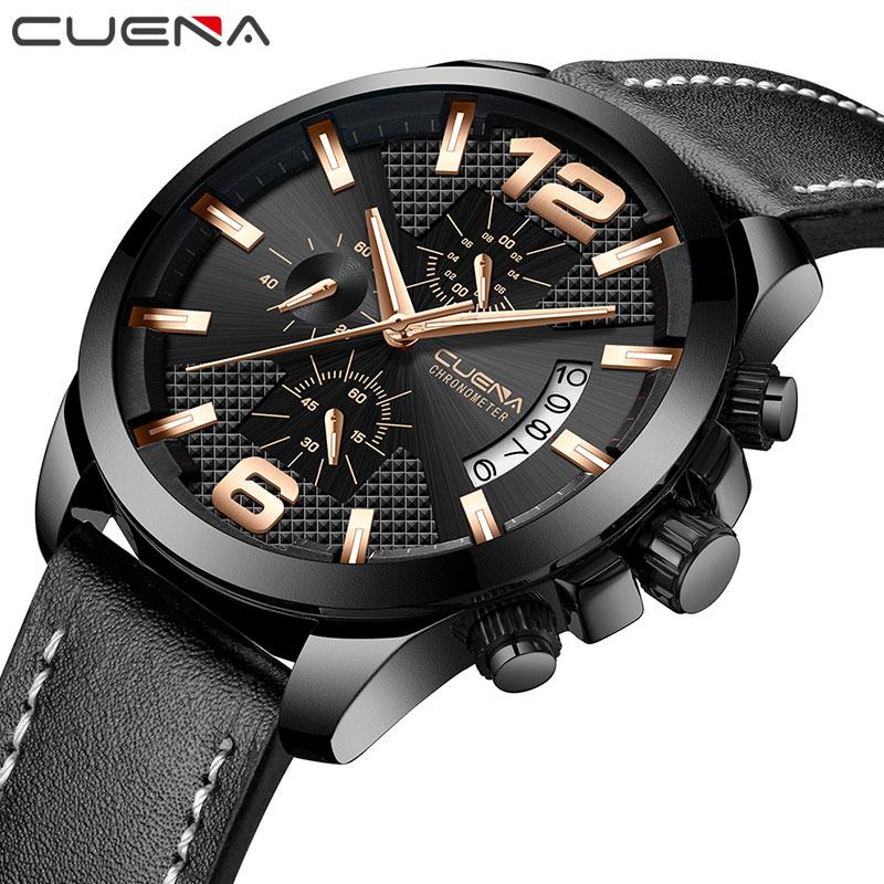 CUENA Business Men 3Atm Watch Sport Waterproof Quartz Leather Wristwatch Chronograph Calendar Clock Dress Watch For Men For Gift