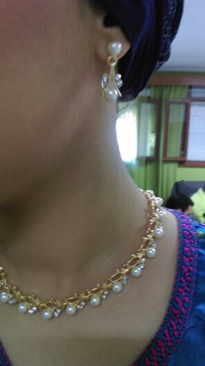 Classic Crystal Pearl Necklace Jewelry Set - Js4