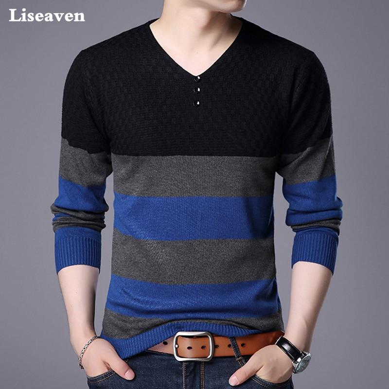 Liseaven Men Pullover Sweater V-Neck Striped Sweaters Men's Clothing Knitwear