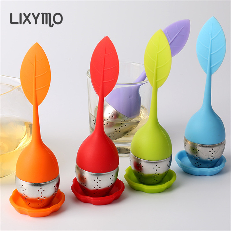 Multi Colors Sweet Leaf Silicone Tea Infuser Reusable Strainer with Drop Tray Novelty Tea Ball Herbal Spice Filter Tea Tool