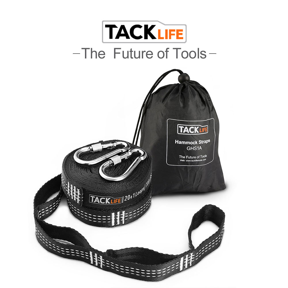 Tacklife Hammock Straps 24 Ft Total Heavy Hammock Tree Straps With 40 Loops 2 Carabiners GHS1A Inelastic Suspension System Sets