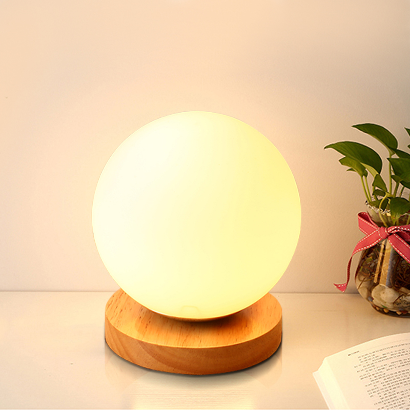 Modern Wooden Glass Ball Moon Lamp Japanese Small Table Lamps Colorful Glass Desk Lamp Bedroom Bedside Led Lights Decoration