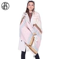FS Soft Acryli Scarf Women Winter Warm Luxury Brand Tassel Geometry Print Long Head Scarves 2017