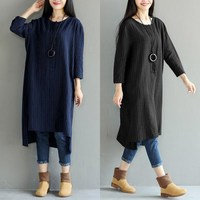 ZANZEA Women Striped Linen Dress 2018 Autumn Long Sleeve Baggy Shirt Dresses Vintage Casual Loose MIdi