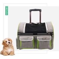 AHUAPET Dog Stroller Carrier Pets Pull Rod Package Kitty Cat Carrier Backpack Nylon Breathable Mesh Bag For Dog Travel Trolley E