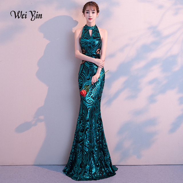 Weiyin 2019 Nova Sereia Sexy Longos Vestidos de Noite Vestido de Festa de Luxo Verde Lantejoula Formal Party Dress Prom Vestidos