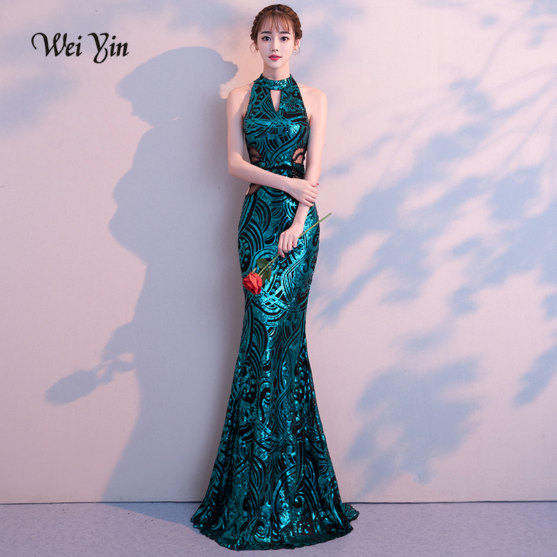 weiyin 2019 New Sexy Mermaid Long   Evening     Dresses   Vestido de Festa Luxury Green Sequin Formal Party   Dress   Prom Gowns