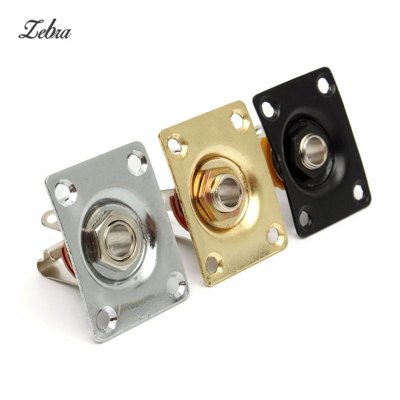 Zebra Square Jack Plate Guitar Bass Jack 1/4 Output Input jack socket For Electric Guitar Parts & Accessories Gold/Silver/Black 6 35mm 1 4 chassis panel mount guitar bass input jack socket increasing output power for professional guitar parts accessories