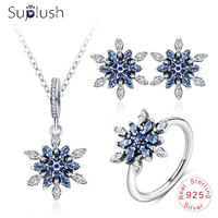 Suplush 100% 925 Sterling Silver Snowflower Pendant/ Earrings /Ring 3pcs Set with AAA CZ Stone Christmas Jewelry Gift PSST0013