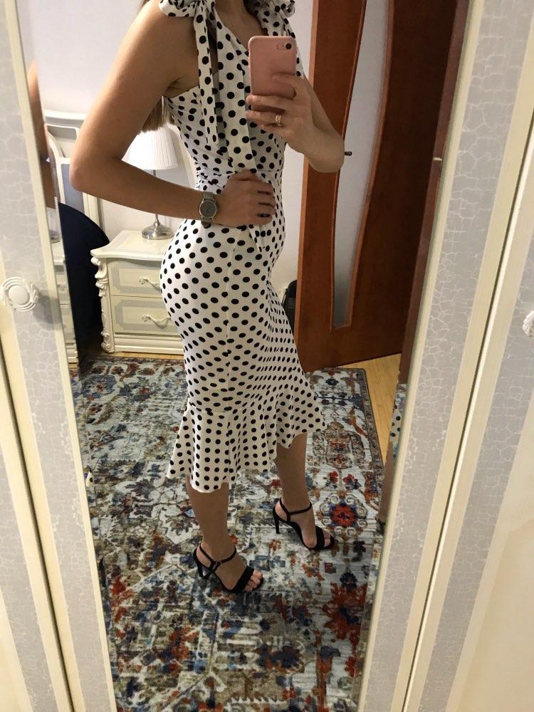 Elegant Knotted Strap Polka Dot Mermaid Hem Summer Pencil Midi Dress Women Slim Bodycon Office Lady Ruffle Dresses photo review
